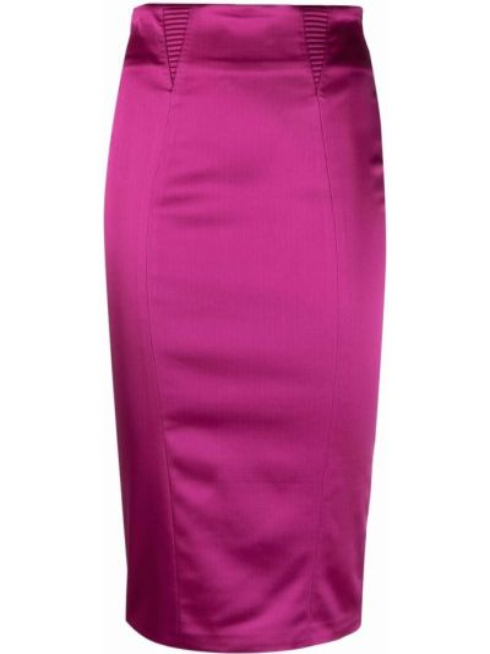 Różowa satynowa spódnica midi z wysokim stanem Murmur