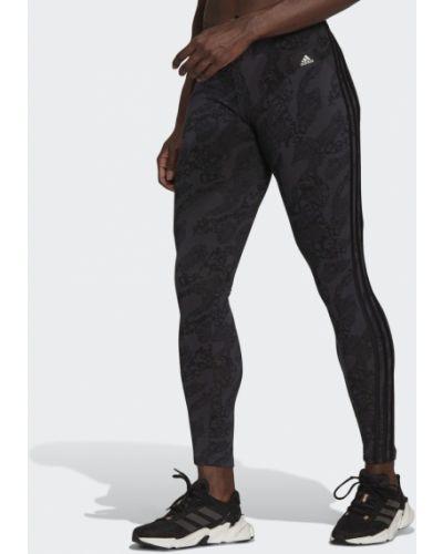 Черные леггинсы эластичные с принтом Adidas