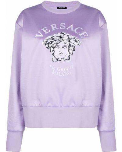 Хлопковая фиолетовая толстовка с вышивкой Versace Collection