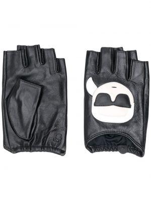 Czarne rękawiczki skorzane z printem Karl Lagerfeld