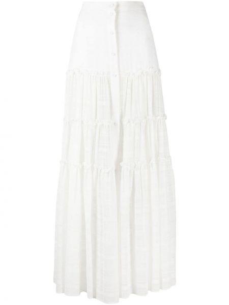 Biała spódnica z wysokim stanem bawełniana Wandering