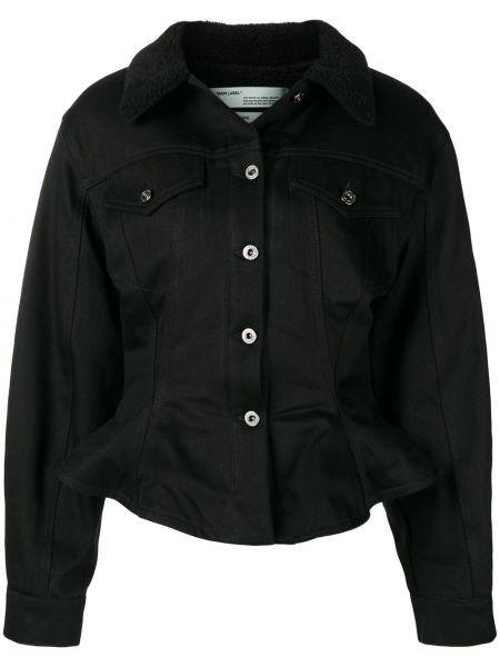 Свободная черная джинсовая куртка с воротником Off-white