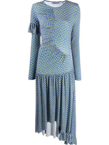 Синее асимметричное платье с оборками с вырезом Preen By Thornton Bregazzi