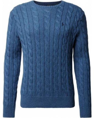 Prążkowany niebieski sweter bawełniany Polo Ralph Lauren