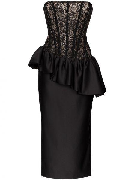 Шелковое с заниженной талией платье миди со вставками на молнии Rasario