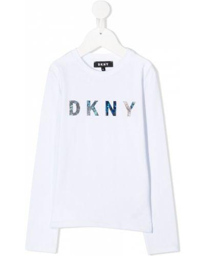Белый топ с длинными рукавами круглый Dkny Kids