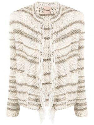 Белый удлиненный пиджак в полоску с бахромой Nude