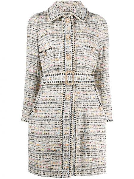 Удлиненный пиджак твидовый с поясом с воротником Edward Achour Paris