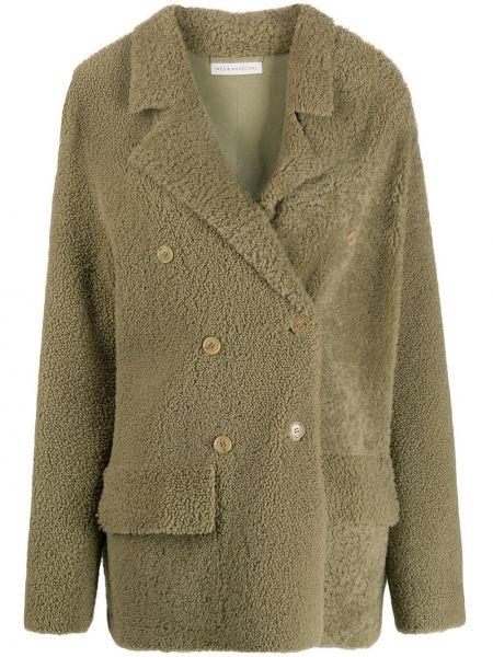 Зеленое прямое шерстяное пальто с карманами Inès & Maréchal