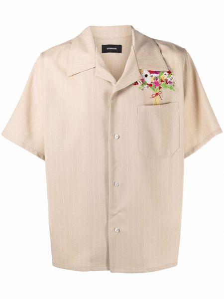 Beżowa koszula krótki rękaw w kwiaty 3.paradis