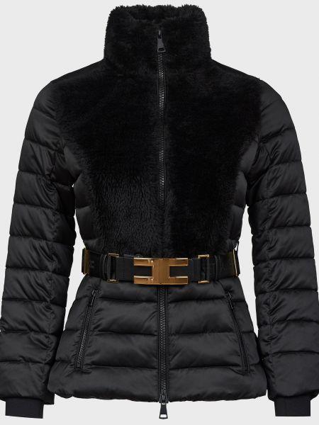 Куртка с поясом - черная Elisabetta Franchi