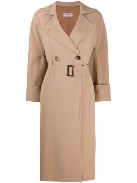 Длинное пальто с капюшоном двубортное на пуговицах Alberto Biani