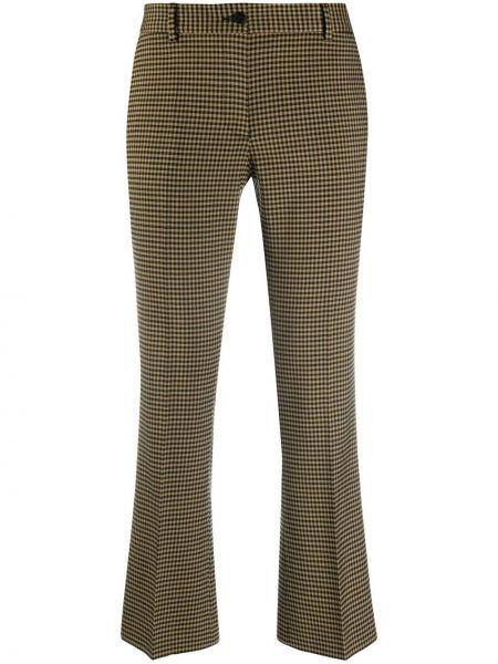 Расклешенные шерстяные коричневые укороченные брюки Alberto Biani