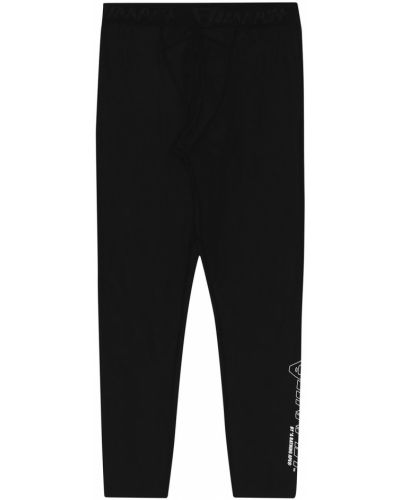 Czarne legginsy z nylonu z printem Aape By A Bathing Ape