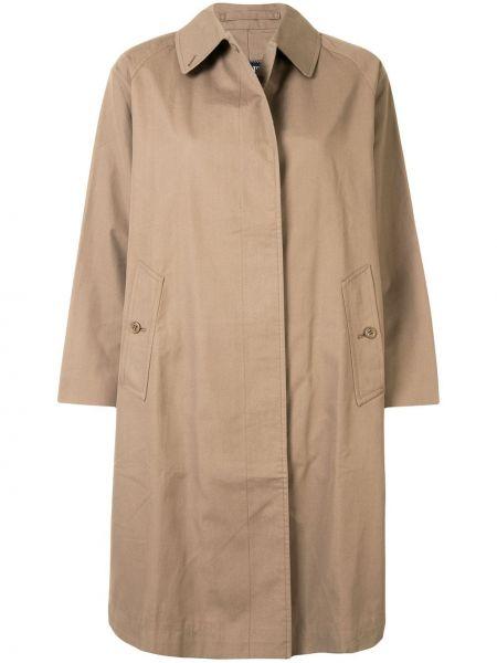 Коричневое прямое пальто классическое с воротником с рукавом реглан Burberry Pre-owned