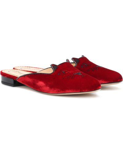 Тапочки итальянские кожаные Charlotte Olympia