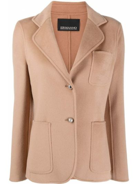 Шерстяной коричневый классический пиджак на пуговицах Ermanno Ermanno