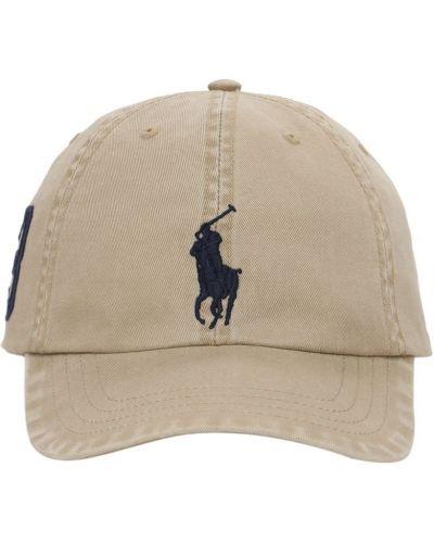 Beżowy bawełna kapelusz z haftem Ralph Lauren