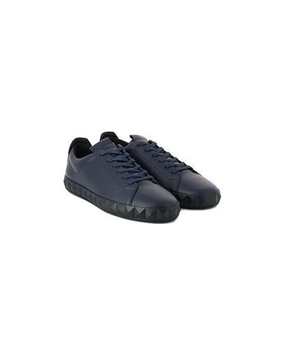 Синие кожаные кеды Emporio Armani