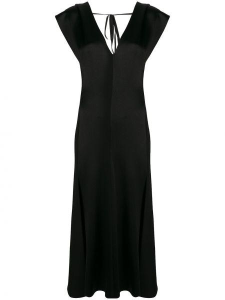 Платье макси с декольте с драпировкой без рукавов на молнии Victoria Beckham