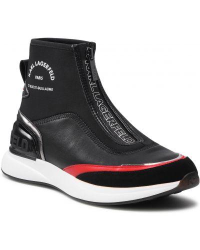 Buty sportowe skorzane - czarne Karl Lagerfeld