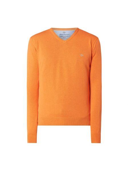 Pomarańczowy sweter bawełniany z dekoltem w serek Fynch-hatton