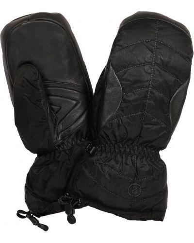 Кожаные черные варежки с опушкой Bogner