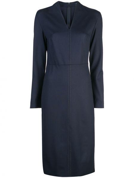 Синее приталенное платье миди с V-образным вырезом на молнии Piazza Sempione