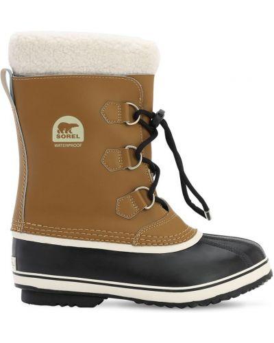 Фетровые коричневые сапоги на шнуровке Sorel