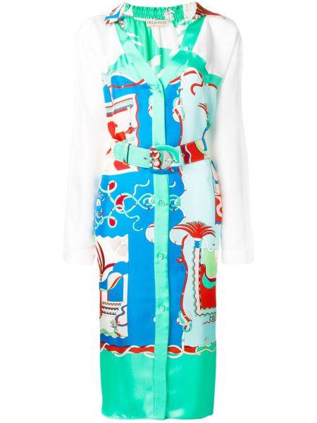 Шелковое синее платье-рубашка с поясом Emilio Pucci