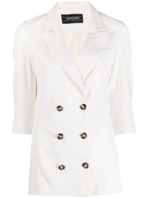 Белый кожаный классический пиджак двубортный Simonetta Ravizza