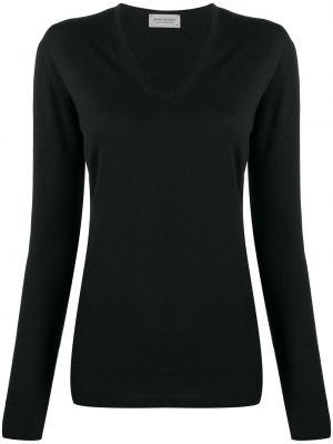 Шерстяной черный пуловер с V-образным вырезом John Smedley