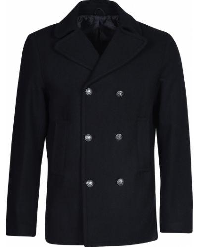 Шерстяное черное пальто Trussardi Jeans