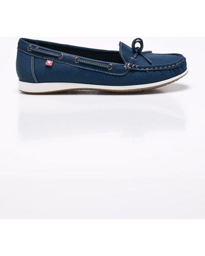 Текстильные синие мокасины на каблуке Big Star