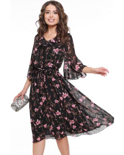 Шифоновое тонкое платье с декольте с оборками Dstrend