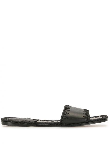 Открытые кожаные черные сандалии на каблуке Mara & Mine