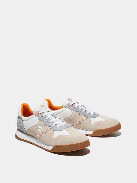 Бежевые кожаные кроссовки на шнурках Timberland
