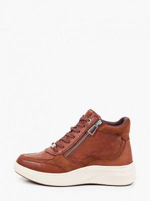 Кожаные высокие кроссовки - коричневые Caprice