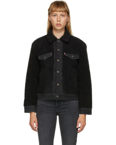 Теплая черная джинсовая куртка с манжетами с воротником Levi's®