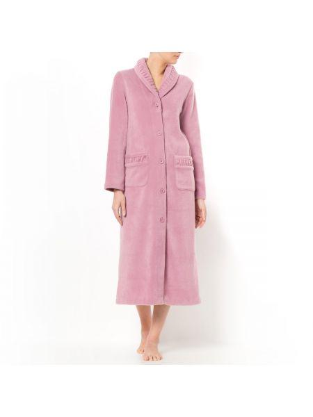 Розовый флисовый домашний халат на пуговицах La Redoute