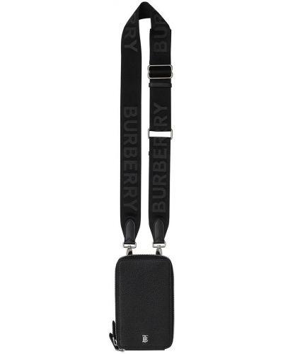 Черная кожаная сумка на плечо на молнии Burberry