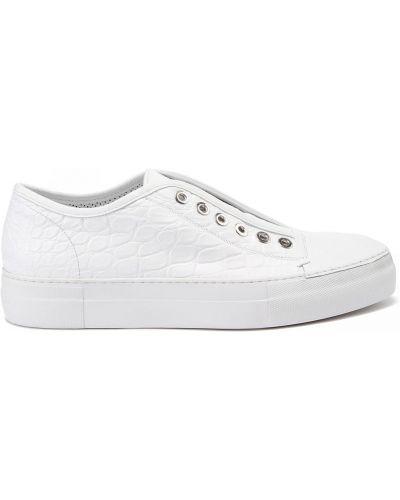 Кожаные белые кроссовки на шнуровке Rocco P.