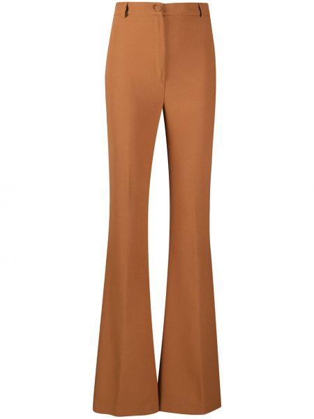 Коричневые расклешенные брюки с высокой посадкой на молнии Hebe Studio