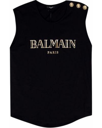 Czarny top elegancki bawełniany Balmain