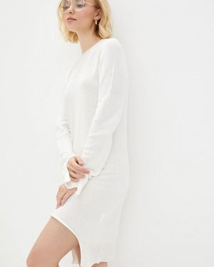 Клубное вязаное белое платье Nataclub