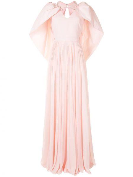 Pofałdowany jedwab różowy długo sukienka z dekoltem w szpic Givenchy