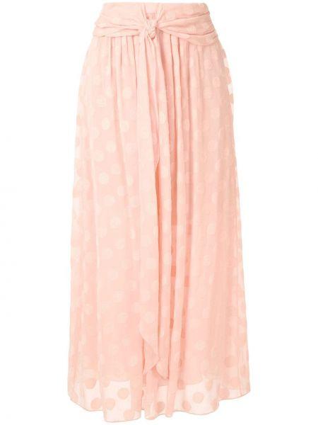 Прямая розовая с завышенной талией юбка миди в рубчик НК