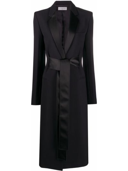 Czarny wełniany długi płaszcz z kieszeniami z długimi rękawami Victoria Beckham