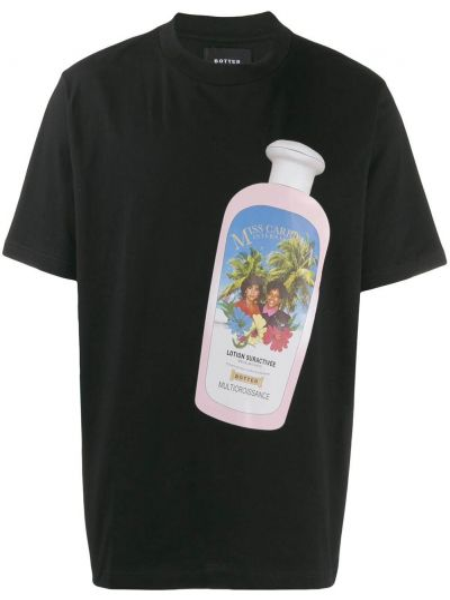 Czarny t-shirt bawełniany z printem Botter
