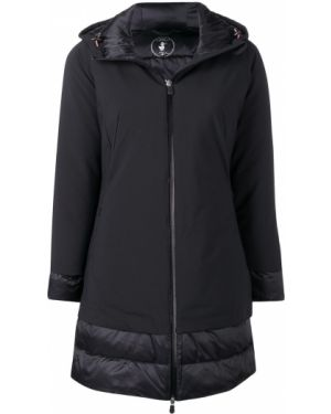Нейлоновое черное длинное пальто с капюшоном Save The Duck